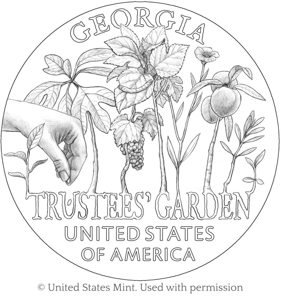 coin American Innovation Georgia line art 1