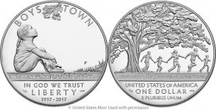 Boys Town silver commemorative coin –  Emily S. Damstra
