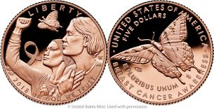 Breast Cancer Awareness Commemorative Coin 2018 gold, silver, and clad coins – Emily S. Damstra