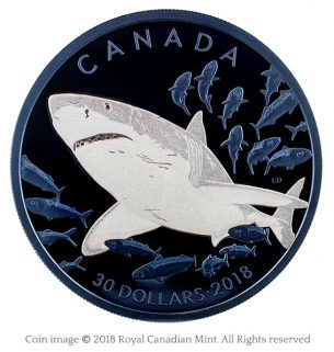 2 oz. Pure Silver Coin with Selective Blue Rhodium Plating – Great White Shark—Emily S. Damstra