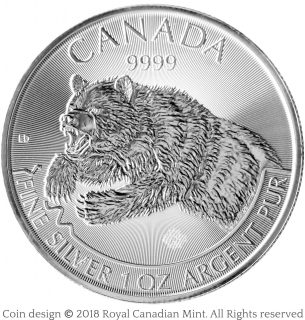Grizzly silver bullion coin – Emily S. Damstra