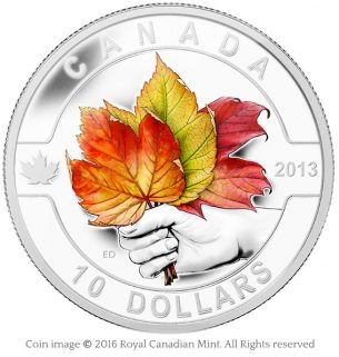 Maple leaves 2013 silver coin