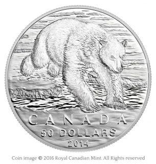 Polar bear leaping 2014 silver coin