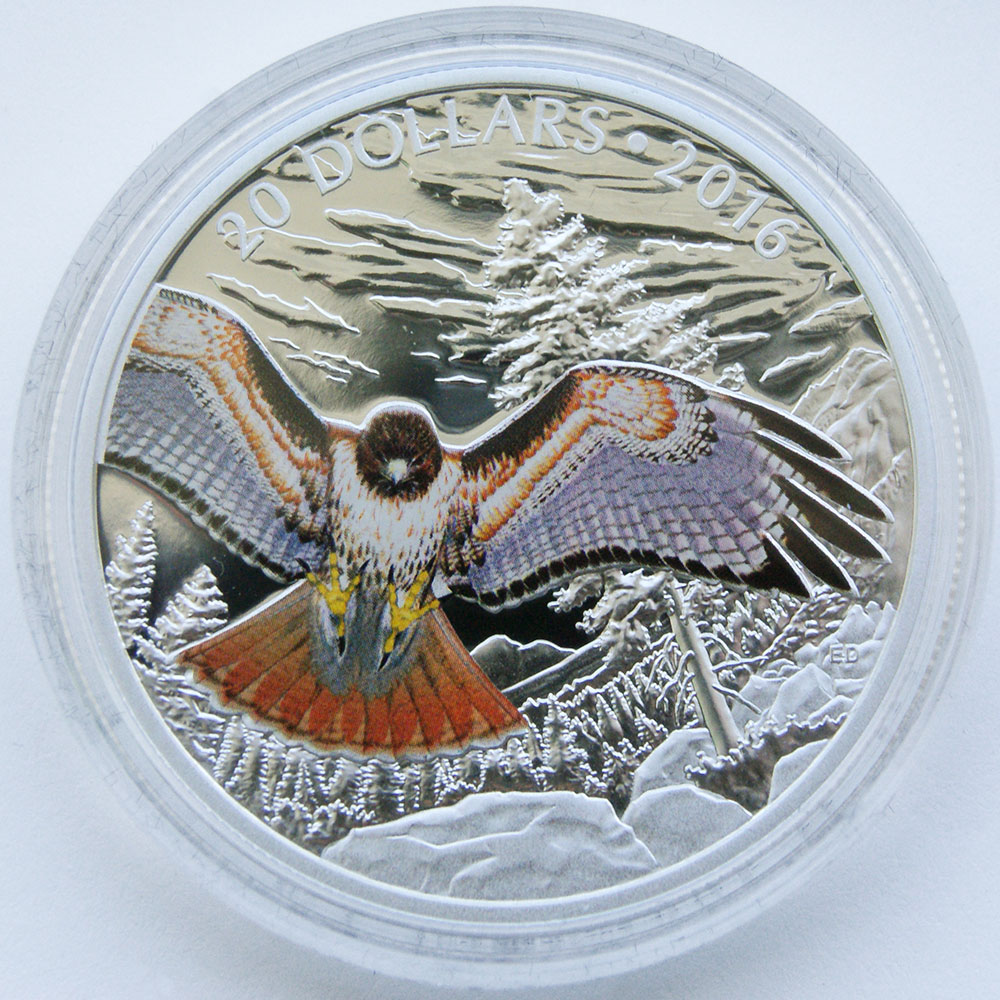 Red-tailed hawk coin designed by Emily S. Damstra